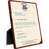 Harry Potter Hogwarts Personalized Acceptance Letter Chromaluxe Panel: WBshop.com - The Official Online Store of Warner Bros. Studios
