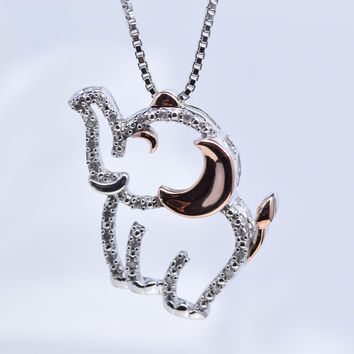 14k Rose Gold Diamond Sterling Silver and Elephant Pendant Necklace