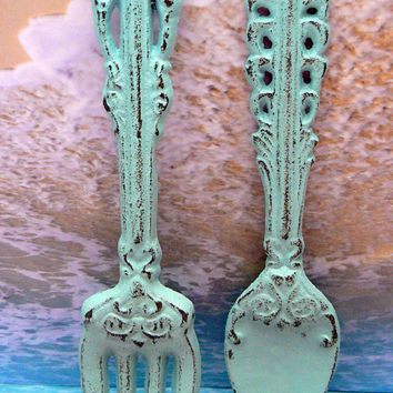 Fork Spoon Set Wall Decor Shabby Chic Beachy Cottage Blue Weathered Distressed Kitchen Home