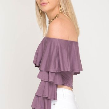 Dusty Purple Ruffle Crop Top