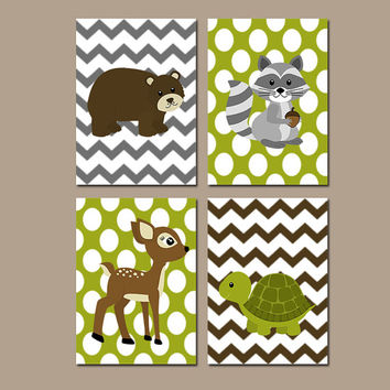 Woodland Wall Art Canvas Boy Nursery Artwork Forest Animals Deer Bear Raccoon Turtle Chevron Polka Dots Set of 4 Prints Baby Bedroom Decor