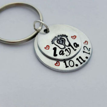 Childs Name Keychain, Birthdate Keychain, New mom gift, personalized name, hand stamped keychain, mommy jewelry, Daddy gift, childrens names