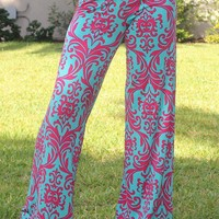 Teal and Fuchsia Printed Pants