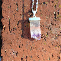 Natural Amethyst Geode Cluster Pendant Necklace, Amethyst Necklace