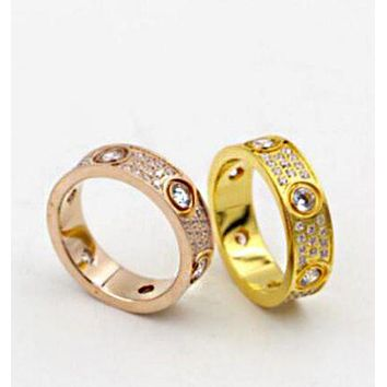 """""""Cartier"""" Fashion Ladies Men Three Rows Of Drill Diamond Ring Stars Couple Ring Accessories"""