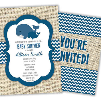 Trendy Whale Baby Shower Invitation - Nautical Navy Blue Whale Invite- Nautical Baby Shower - Shower Invite - Burlap Boy Chevron Its a Boy