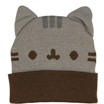 Pusheen Cat Beanie Hat With Ears Grey/Brown