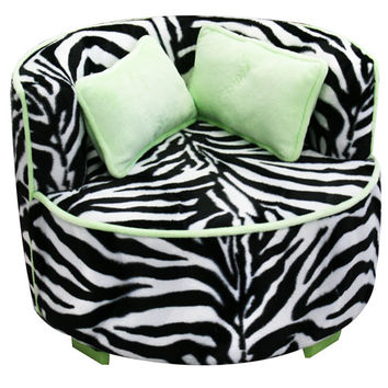 Komfy Kings, Inc 70171 Lime and Zebra Minky 22-Inch Redondo chair
