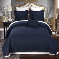 Luxury Checkered Quilted Wrinkle Free Microfiber 3 Piece Coverlet Set- Navy