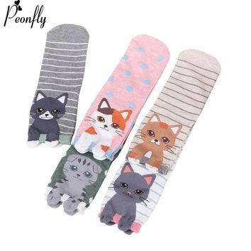 PEONFLY Cartoon Animal Cat Dog Penguin Bear Squirrel Fox 3D Ears Lovely Socks 2018 Autumn Winter Woman Soft Comfort Cotton Socks