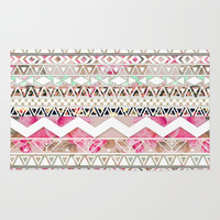 Aztec Spring Time! | Girly Pink White Floral Abstract Aztec Pattern Area & Throw Rug by Girly Trend