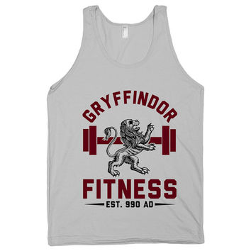 Gryffindor Fitness, Hogwarts, HP, Harry Potter, Magic, Womens, Mens, Shirts, Tops, Tanks, Workout, Nerd, Exercise, Gym, Muggles