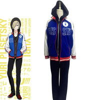 Anime Yuri!!! on Ice Yuri Plisetsky Sportswear Suit Outfit Cosplay Costume Coat hoodie