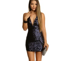 Blue Look At Me Sequin Dress
