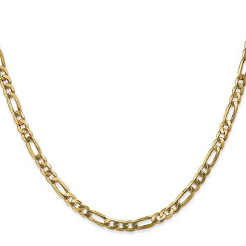 14K Yellow Gold 4.00mm Flat Figaro Chain Necklace - Fine Jewelry Gift