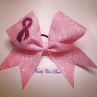 Pink Glitter Lace Cheer Bow with Glitter Breast Cancer Ribbon
