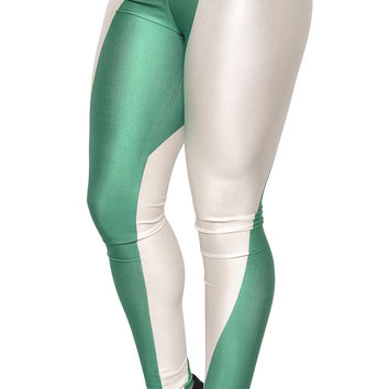 BadAssLeggings Women's Nigeria Flag FIFA Cup Leggings Medium White