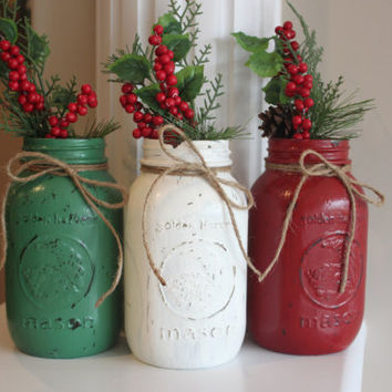 rustic christmas decorations christmas centerpieces distressed mason jars shabby chic hostess gift - Country Christmas Decorations