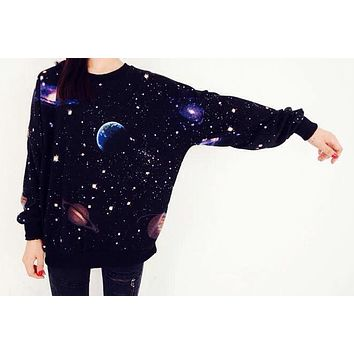 Free Shipping 2016 Autumn Winter Women Sweatshirts cosmic space galaxy star Printed Tracksuits Hoodies