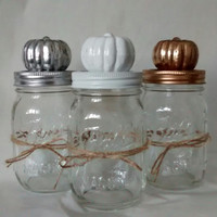 Mason jars, Gold, white, silver pumpkin Thanksgiving centerpiece, fall, autumn decor