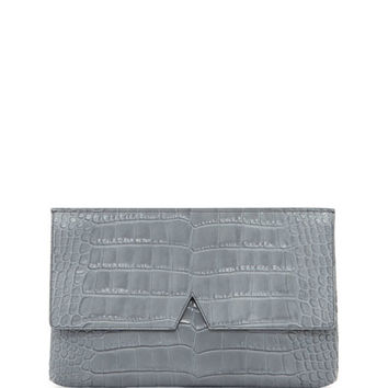 Vince Crocodile-Embossed Medium Clutch Bag, Chambray