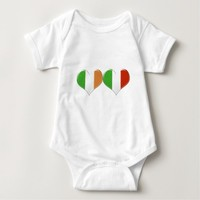 Irish and Italian Heart Flags Baby Bodysuit