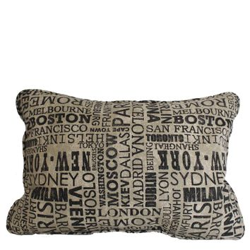 "Great Cities 22x16"" Printed Cotton Pillow"