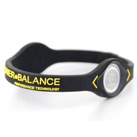 Power Balance Performance Technology Silicone Wristband Size: Medium Black/Yellow Letters