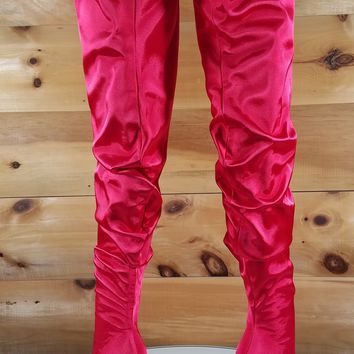 Red Satin Slouchy Shaft Pointy Toe OTK Thigh Boot High Heels