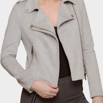 Faux Suede Moto Jacket in Grey