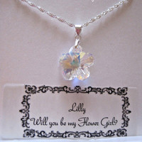 Flower girl Necklace or gift,Personalized Jewelry Card and Box , wedding necklace, bridal party necklace, by JewlesDesigns on Etsy
