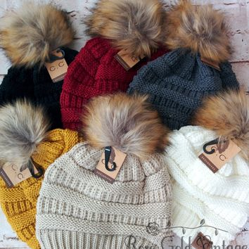 Fur Pom Pom CC Beanie Hats from Rose Gold Vintage 69db8a364