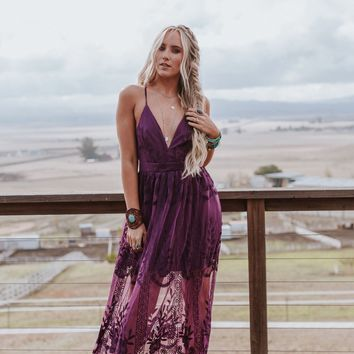 Delilah Sheer Maxi Dress - Plum