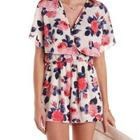 Ivory Combo Floral Print Flutter Wrap Romper by Charlotte Russe