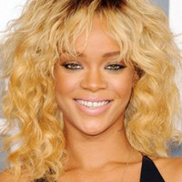 """Rihanna 18""""?Shoulder Length Curly With Bangs Synthetic Wigs for Women Brown"""