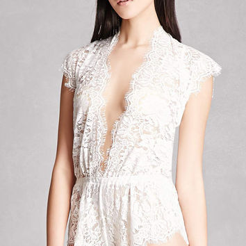 Sheer Lace V-Neck Romper