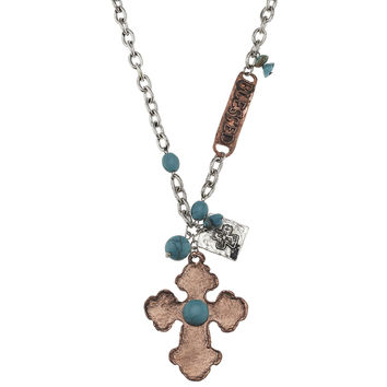Orthodox Copper Cross Pendant with Turquoise Embellished Blessed Necklace.