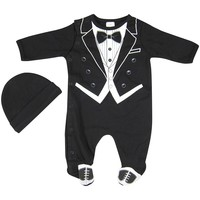 Hope Balloon Baby Boy's 2 Piece Tuxedo Sleeper With Matching Hat 0-3 Months Black
