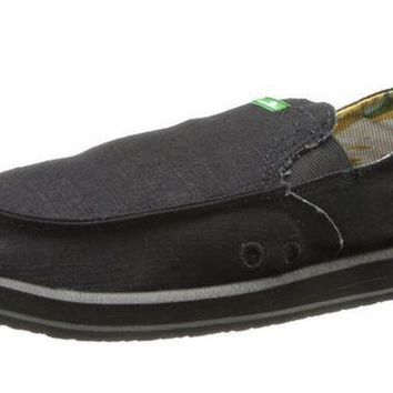 ICIKAB3 Sanuk Pick Pocket Black Sidewalk Surfer Shoes