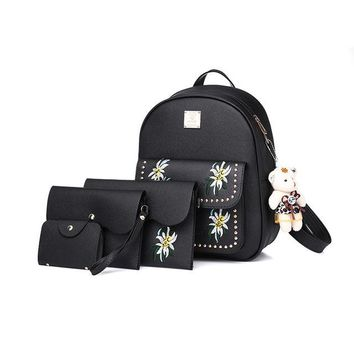 Girls bookbag Luyo Floral Embroidered Leather Women Cute 4pcs Backpack Female School Bags Backpacks For Teenage Girls Bagpack Back Bag Bookbag AT_52_3