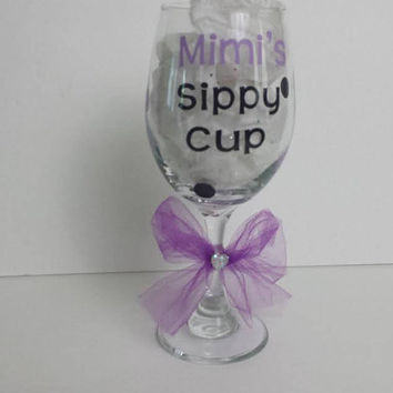 Ready To Ship!  ON SALE NOW! Mimi's Sippy Cup Wine Glass With Vinyl, Stemmed, Lilac and Black, Polka Dots