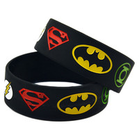 25PCS/Lot New Justice League Silicon Wristband  With Superman, Batman, Green Lantern, The Flash, Popular For The Young People