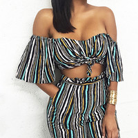 Multicolor Stripe Bandeau Top and Wide Leg Pants