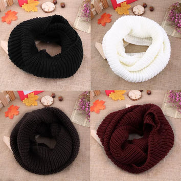 4 colors Women's Winter Warm 2Circle Cable Knit Cowl Neck Long Scarf Shawl Brand New