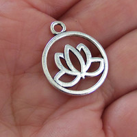 8 Lotus flower pendants, lotus flower charms, lotus charm, flower charm, zen charms, water lily charm, lotus in circle, double sided - F339