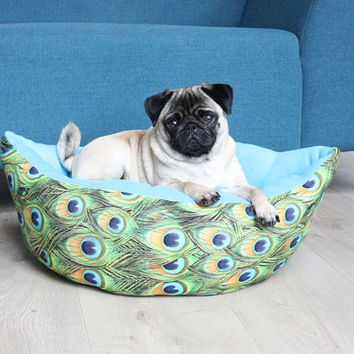 Made to order - Peacock Dog/Cat bed - fleece cotton - flamingo light blue - handmade