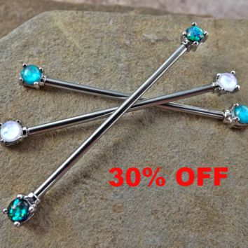 Beautiful Opal Industrial Barbell Opal Ends Scaffold Piercing 14ga Body Jewelry Piercing Jewelry