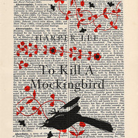 To Kill a Mockingbird by Harper Lee Print Wall Art on an antique page, book cover art