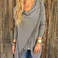 New FashionAutumn Cardigan Women Long Sleeve Knitted Oversized Sweater Loose Hem Tassel Cardigan Sweater