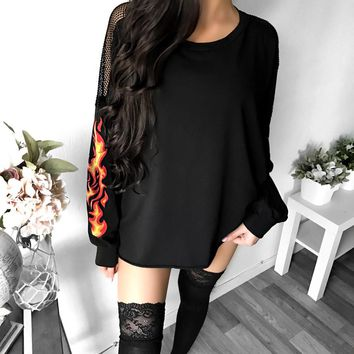 Female Fashion Lace Mesh Breathable Oversized Trendy Flame Pullover